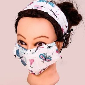 2 piece patterned mask with headband